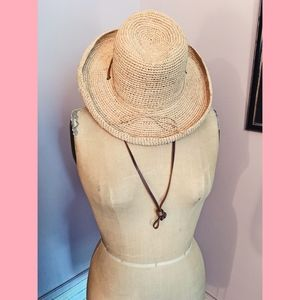 Accessories - Straw Woven Hat with Leather Strap